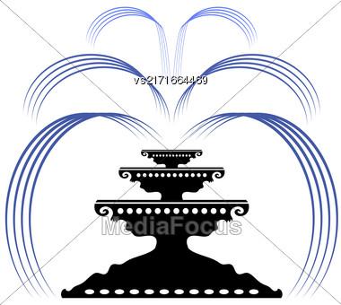 Retro Fountain Silhouette Icon Isolated On White Background Stock Photo