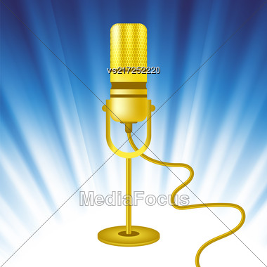 Retro Gold Microphone Icon On Blue Wave Background Stock Photo