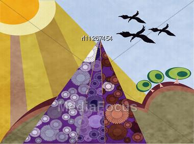 Retro Landscape Background, Background Art Stock Photo