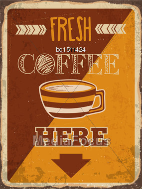 "Retro Metal Sign ""Fresh Coffee Here"", Eps10 Vector Format Stock Photo"