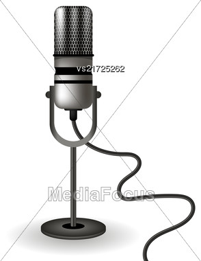 Retro Microphone Icon Isolated On White Background Stock Photo