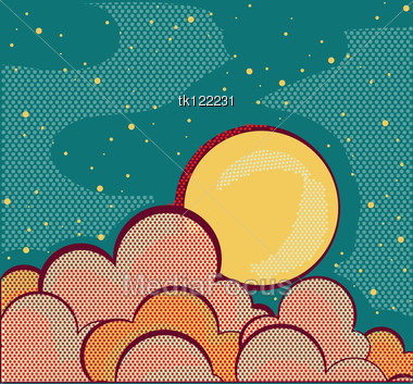 Retro Night Sky And Clouds With Grunge Elements Stock Photo