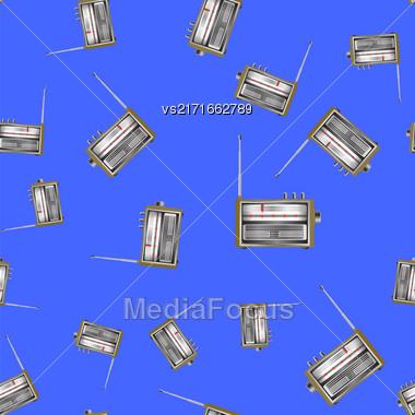 Retro Old Radio Icon Seamless Pattern On Blue Background Stock Photo