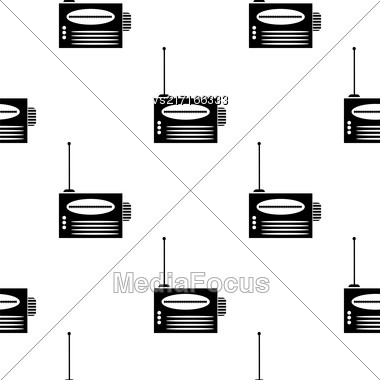 Retro Old Radio Icon Seamless Pattern On White Background Stock Photo