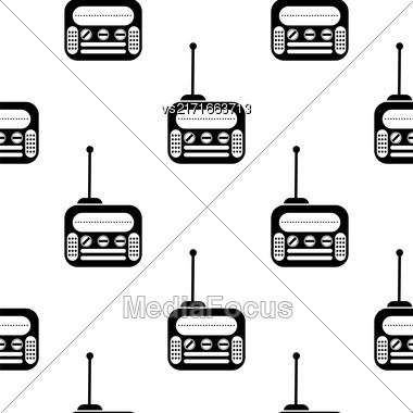 Retro Old Radio Icon Seamless Pattern On White Background Stock Photo
