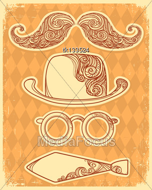 Retro Party Objects With Moustaches.Vector Vintage Illustration On Old Paper Stock Photo