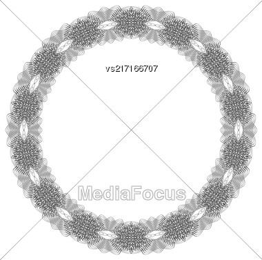 Retro Round Frame Isolated On White Background Stock Photo