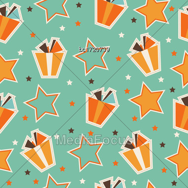 Retro Seamless Pattern With Gift Boxes, Vector Format Stock Photo