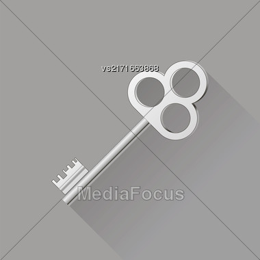 Retro Silver Key Isolated On Gray Background. Long Shadow Stock Photo