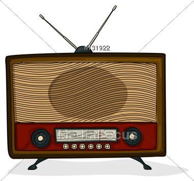 Retro Style Cartoon Radio Drawing Over White Background Stock Photo