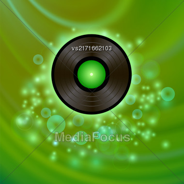 Retro Vinyl Disc On Green Blurred Background Stock Photo