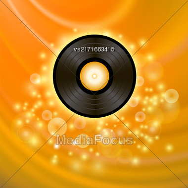 Retro Vinyl Disc On Orange Blurred Background Stock Photo
