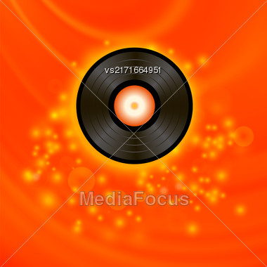 Retro Vinyl Disc On Red Blurred Background Stock Photo