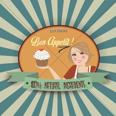 Retro Wife Illustration With Bon Appetit Message, Vector Format Stock Photo
