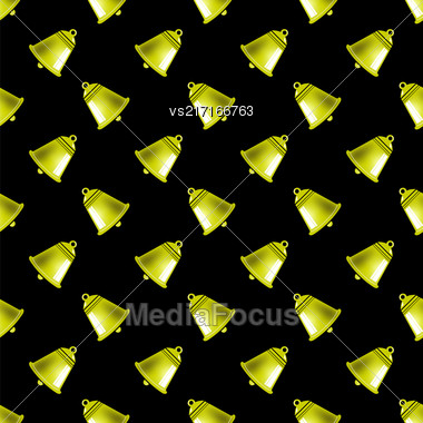Retro Yellow School Bell Seamless Pattern On Black Background Stock Photo
