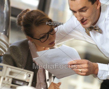 Reviewing Documents Stock Photo