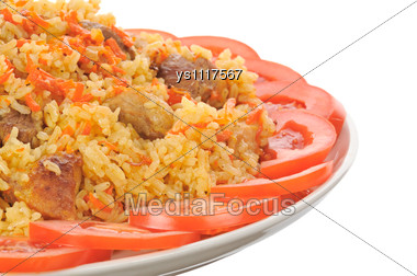 Rice With Meat On A Plate Stock Photo