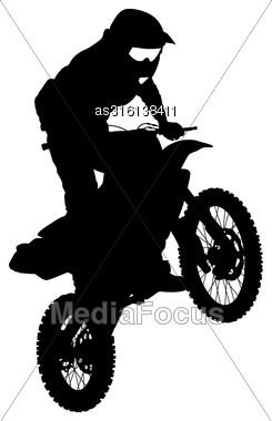 Rider Participates Motocross Championship. Vector Illustration Stock Photo
