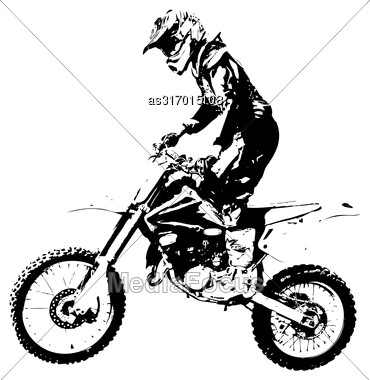 Rider Participates Motocross Championship. Vector Illustration Stock Photo