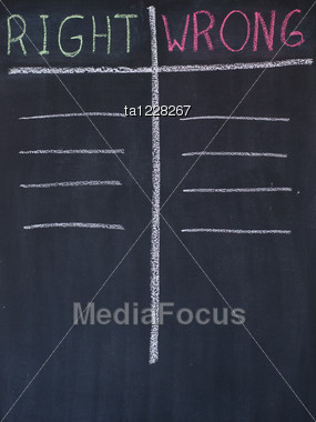 Right And Wrong List Drawn On A Blackboard Stock Photo