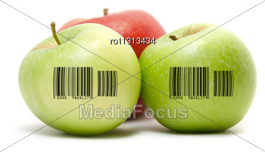 Ripe Apples Fruit With Barcode Isolated On White Background Stock Photo