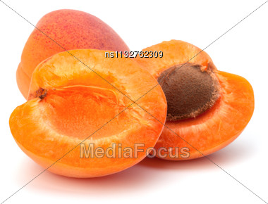 Ripe Apricot Fruit Isolated On White Background Stock Photo
