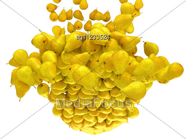 Ripe Fruits: Yellow Pears Flow Stock Photo