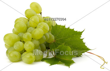 Ripe Grape Whith Leaf Isolated On White Background Stock Photo