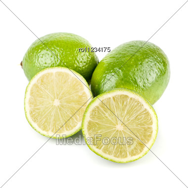 Ripe Lime Isolated Stock Photo