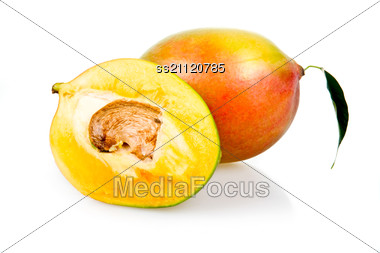 Ripe Mango Fruits With Leaves Stock Photo