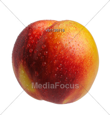 Ripe Nectarine With Water Drops Stock Photo
