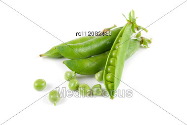 Ripe Pea Vegetable With Green Leaf Stock Photo