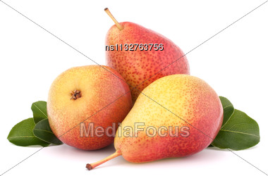 Ripe Pear Fruit Isolated On White Background Cutout Stock Photo