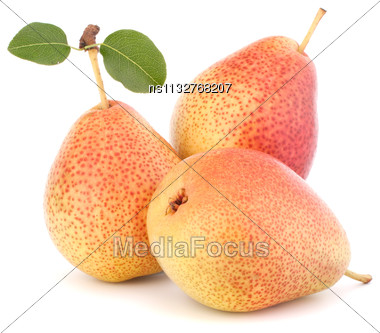 Ripe Pear Fruit Isolated On White Background Cutout Stock Photo
