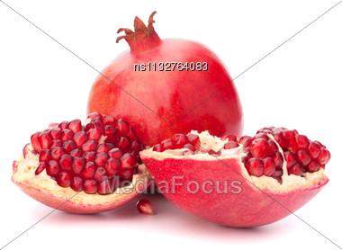 Ripe Pomegranate Fruit Isolated On White Background Cutout Stock Photo