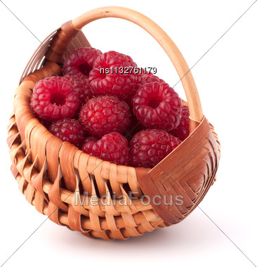 Ripe Raspberries In Basket Isolated On White Background Cutout Stock Photo