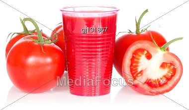 Ripe Tomatoes Tomato Juice And On White Background Stock Photo