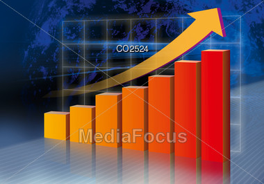 Rising Bar Chart With Ascending Arrow Stock Photo