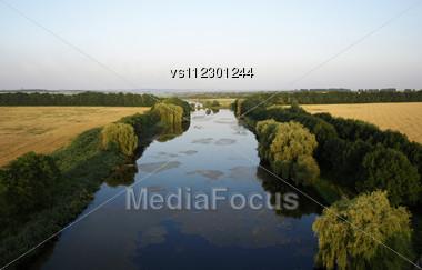 River Before Sundown. Summer Stock Photo