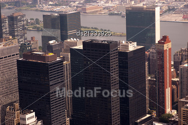 River And Skyscrapers. NYC From Above Toned Image Stock Photo