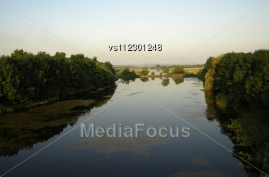 Riverscape Before Sundown. View From Baloon Stock Photo