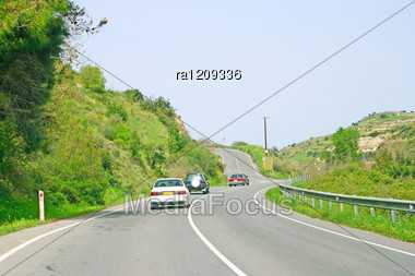 Road With Cars In Cyprus Rural Place. Stock Photo