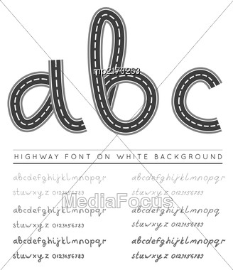 Road Highway Font With Numbers. Vector Illustration On White Background Stock Photo