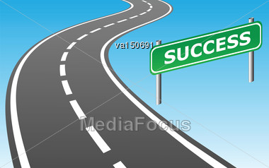 Road And Road Sign SUCCESS As Contemporary Business Concept. Vector Illustration Stock Photo