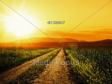 Road To Sun. Abstract Environmental Backgrounds For Your Design Stock Photo
