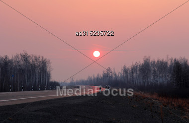 Road To Siberia In Winter Sunset Stock Photo