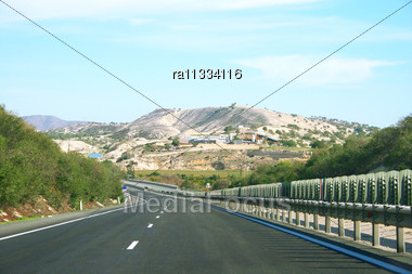 Road To The Mountain In Cyprus. Stock Photo