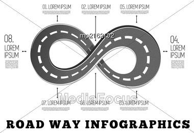 Road Way Design Infographics. Vector Illustration On White Stock Photo