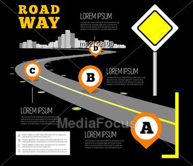Road Way Design Infographics. Vector Illustration On Black Stock Photo