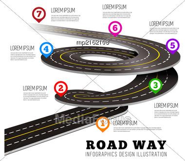 Road Way Design Infographics. Vector Illustration On White Stock Photo
